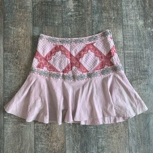 Free People Embroidered A-Line Mini Skirt
